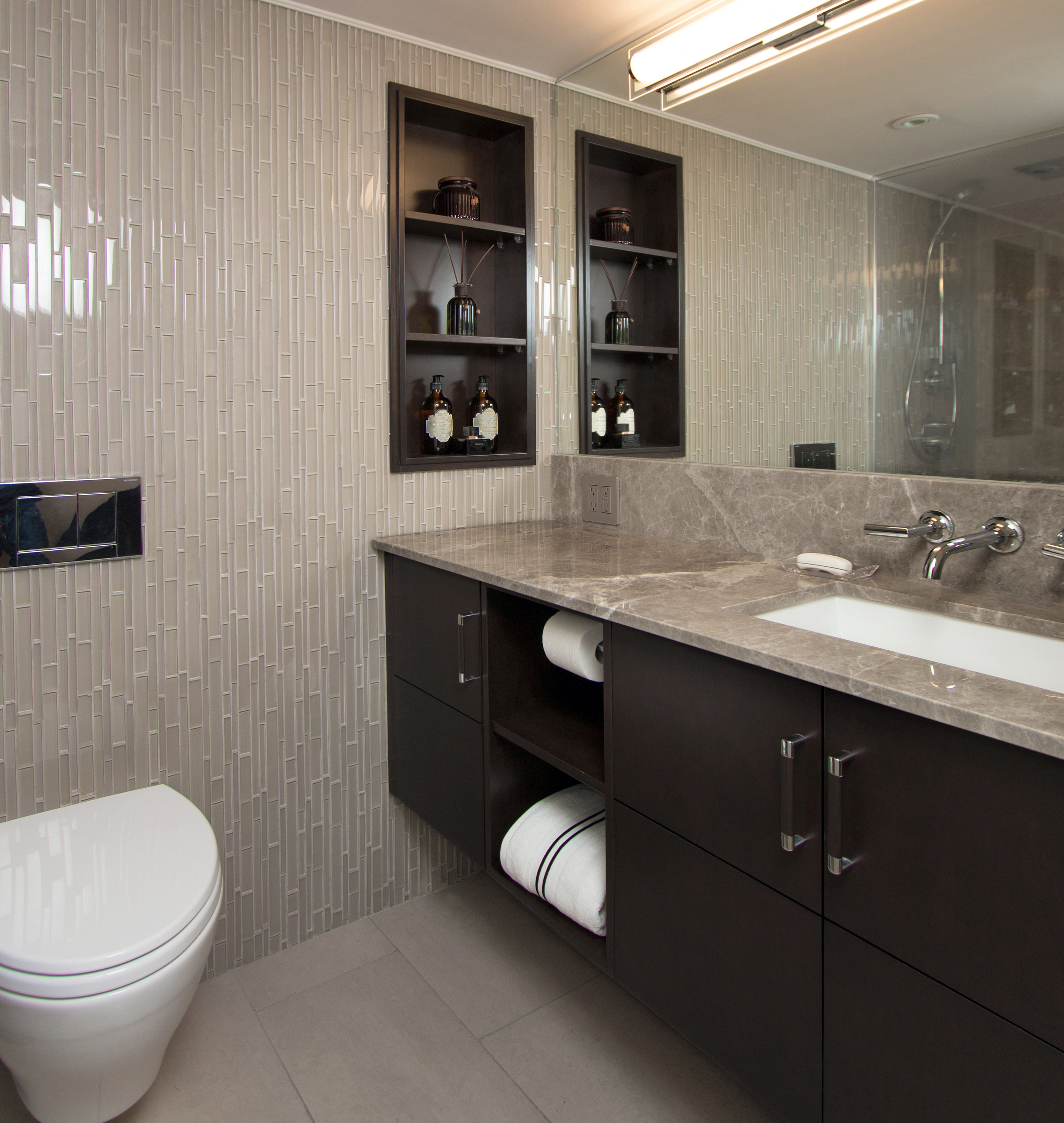 Picture of: Modernized Marble Bathroom